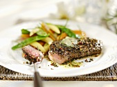 Grilled peppered steak