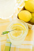 Lemonade in a glass with a lemon slice on a cocktail stick