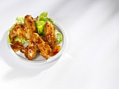 Marinated chicken wings on a plate
