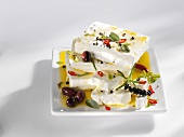 Feta in herb marinade