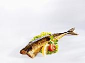 A smoked mackerel with salad garnish