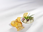 Herb dip and crackers