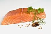 A fresh salmon fillet