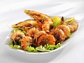 Shrimps with lettuce garnish in a dish