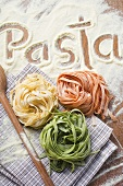 Ribbon pasta in three colours