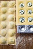 Home-made soft cheese and herb ravioli in ravioli tray