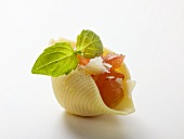 Pasta shell filled with tomato and Parmesan