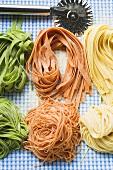 Ribbon pasta and spaghetti in three colours