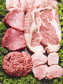 Various types of meat for pan-frying