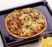 Unbaked tuna pizza on baking tray