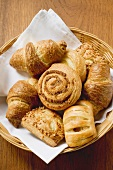 Assorted Danish pastries in a small basket