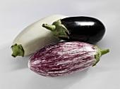 Three different aubergines