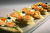 Salmon and caviar canapés