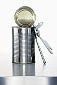 A food tin with a tin opener