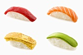 Four different nigiri sushi