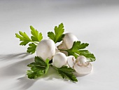Fresh button mushrooms with parsley