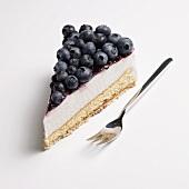 A piece of blueberry cream cake