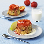 Summer pudding with nectarine sauce
