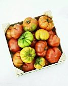 Beefsteak tomatoes in a wooden box