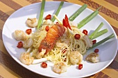 Spaghetti with shrimps and spiny lobster tail (Bahia)