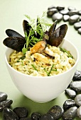 Mussel risotto with herbs and saffron