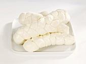 Mozzarella plaits on a platter