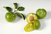 Whole and half greengages with leaves