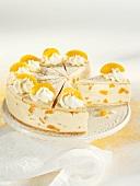Wine cream cake with peaches