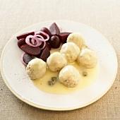 Königsberger Klopse (Königsberg meatballs) with beetroot salad