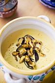 Mussel soup with saffron