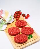 Minced beef hamburger patties