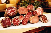 Assorted types of Italian salami and sausage
