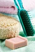 Hairbrush, soap and sponge (close-up)