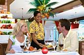 Couple at a Caribbean restaurant