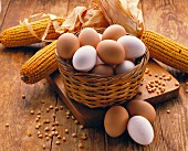 A still life featuring brown and white eggs in a basket