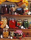 Shelves of pickled vegetables