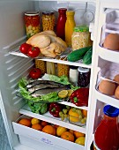 A refrigerator filled with assorted foodstuffs