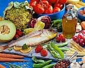 A still life featuring foodstuffs
