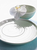 Bowl of water and small bowl with orchid