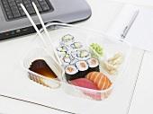 Sushi bento on a desk