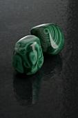 Two pieces of malachite
