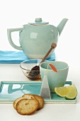 Mint green teaset, honey, lemon, lime, zwieback
