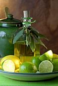 Olive oil, limes and lemon