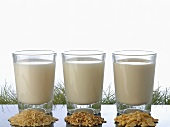 Rice milk, oat milk and nut milk in glasses