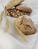 Assorted wholemeal rolls with cereal ears on linen cloth