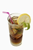 Cuba Libre with lime, lemon and straw