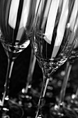 Sparkling wine glasses, close-up
