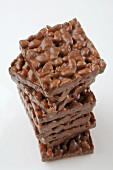 Chocolate-coated puffed rice wafers, stacked