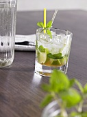 Mojito on wooden table