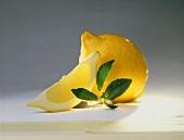 Ganze Zitrone und Zitronenschnitz, Zitronenblätter